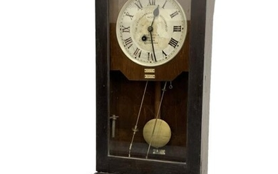 Early 20th century clocking in clock, white enamel dial...