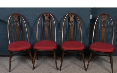 Four Ercol swan back dining chairs. (100cm height, 44cm widt...