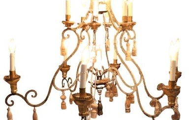 French 20th C. Chandelier of Gilt Metal & Wood