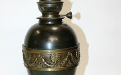 French Napoleon III bronze urn form converted oil lamp
