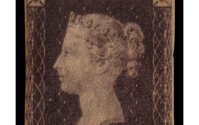 """GREAT BRITAIN 1840 1d. black """"Penny Black"""". Toned Provenance: The..."""