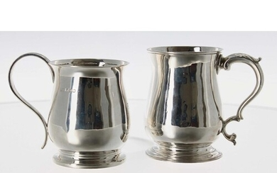 George III silver tankard, with C scroll leaf capped handle ...