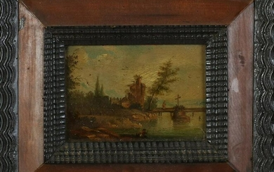 German School, Landscape with Castle and Fisherman