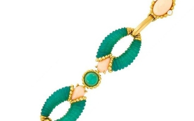 Gold, Angel Skin Coral, Carved Green Onyx and Diamond