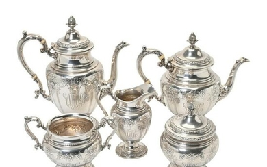 Gorham Baronial Sterling Silver Tea and Coffee Service.