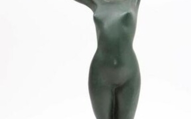Green patinated bronze sculpture of a nude, h.43 cm.