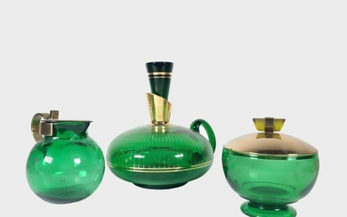 Group Of Green Glass Objects, Circa 1940