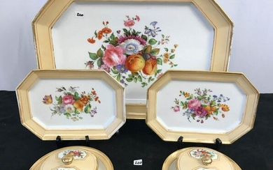 Group of Early Hand Painted Porcelain Serving Pieces