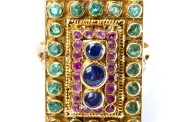 Ilias Lalaounis 18k Gold, Sapphire, Ruby and Emerald