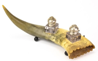 Incredible 19th C Victorian Novelty Horn Inkwell