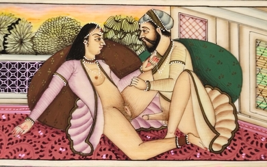 Indian erotic miniature, polychrome painting on bone, partly gilt, 20th century, 5,3x9,5cm