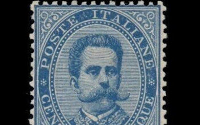 "Italy Kingdom 1879 - Umberto I - 25 cents light blue, ""crown"" watermark, perf. 14 - Sassone N. 40"
