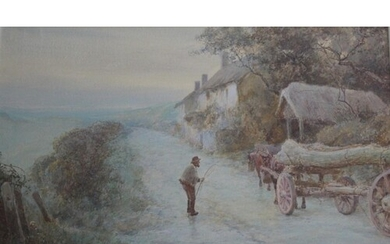 JOHN WHITE (1851-1933) THE TIMBER WAGGON: A HALT BY THE WAY,...