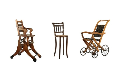 JUVENALIA: A CHILDREN'S MAHOGANY HIGH CHAIR, EARLY 20TH CENTURY