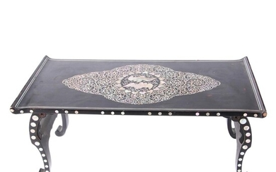 Korean Lacquerware Folded Tea Table with Abalone Inlay