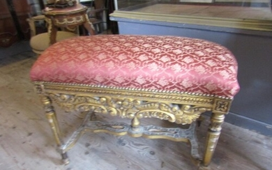 Large Carved Giltwood Stool Antique with Upholstered Seat ab...