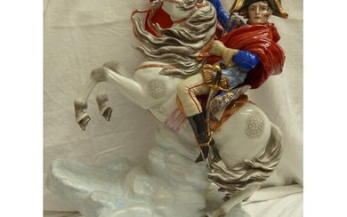 Large German porcelain figure of Napoleon on a rearing horse...