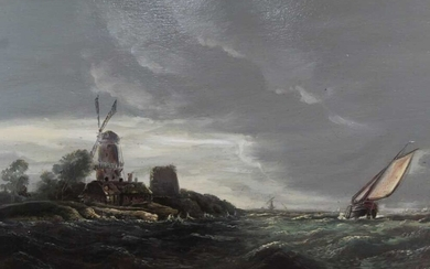 Late 19th century Dutch School, oil on panel, a coastal scene with a windmill and sailing vessels in a blow, in gilt frame, 25 x 38cm