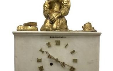 Late 19th century figural mantel clock, white marble case...