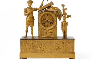 Late Empire gilt bronze mantel clock. Mid-19th century. H. 39 cm. w. 32 cm. D....