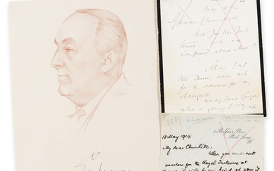 Letters & Postcards.- Collection, including: Lord Curzon to Winston Churchill, E.H. Shepard, Constance Holme, Compton-Burnett, William Golding, Len Hutton, C. Day Lewis, Frederick Forsyth, Edgar Wallace, P.D. James, [20th century] (c. 16 pieces).