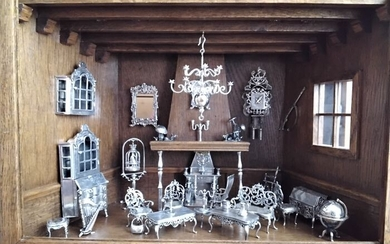 Living Room with an Interior in Silver (30) - Silver and Wood - Second half 20th century