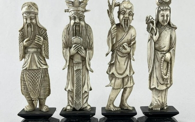 Lot of 4 Chinese Bone Carved Figures, Immortals