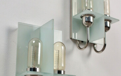 """MANFRED WOLF. Pair of wall lights model """"Pax"""" for series, Germany (2)."""