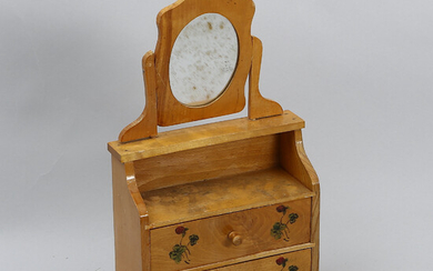 MIRROR AGENCY, miniature, wood, early 20th century.