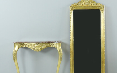 MIRROR AND CONSOLE TABLE, marble, gilded, 20th century.