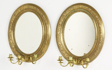 MIRROR LAMPS, a pair, neo-rococo, late 19th century, brass, 3 gilded light arms each, removable frame.