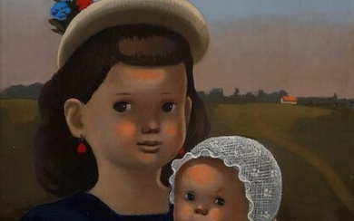Madeleine Kula, known as LUKA (1894-1989)Woman and child, circa 1930Oilon canvas.Signed lower right.(Restoration).35 x 27 cm
