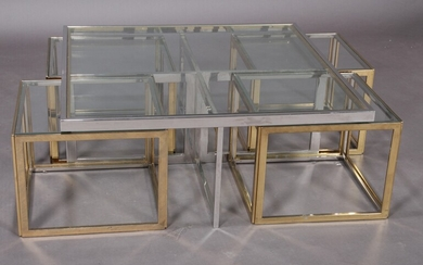 Maison Charles. Vintage square bicolour sofa table and 4 corresponding side tables in chrome-plated and gold-coloured steel (5)