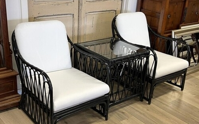 Modern three piece black lacquer cane suite, comprising a pa...