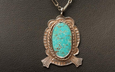 Navaho Turquoise & Sterling Silver Pendant with Chain