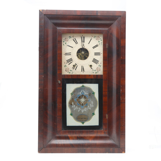 New York M. Welton wall clock, with varnished wood case.