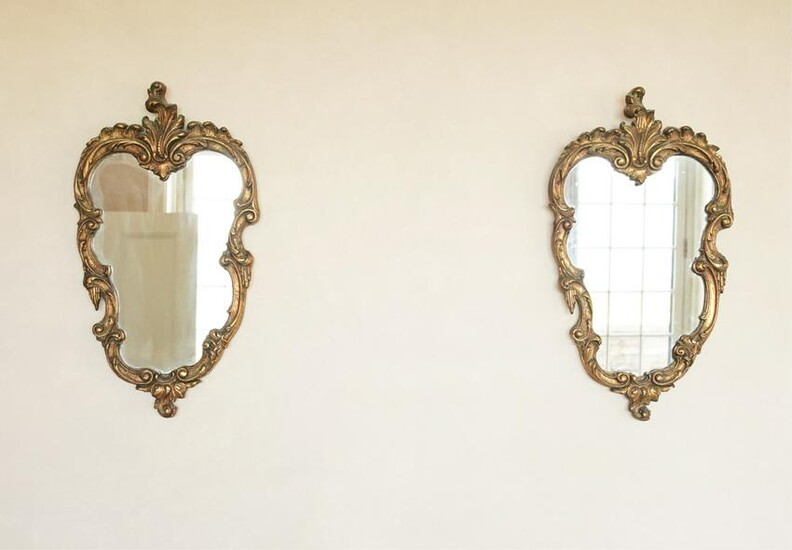 PAIR OF PETITE ROCOCO STYLE SHIELD WALL MIRRORS