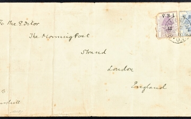 """POSTAL HISTORY - SECOND ANGLO-BOER WAR - WINSTON SPENCER CHURCHILL (1874-1965), BRITISH OCCUPATION OF TRANSVAAL, BLOEMFONTEIN COVER TO LONDON CLEARLY SIGNED """"W.S.CHURCHILL"""" WHILST SERVING AS AN OFFICER IN THE BRITISH ARMY OF OCCUPATION"""