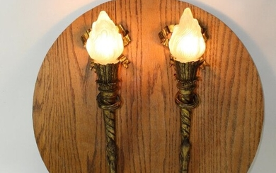 Pair French Louis XVI style bronze torch sconces