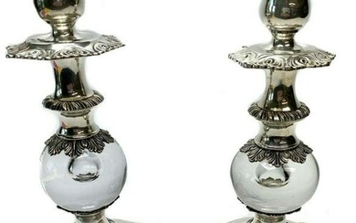 Pair Stirling Castle Sterling Silver Glass