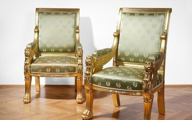 Pair of Empire armchairs, Mid 20th century