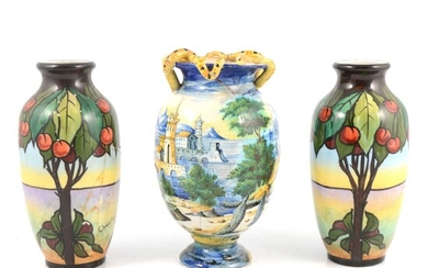 Pair of French porcelain vases, and a Cantagalli Istoriata vase