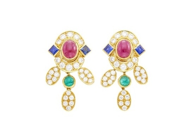 Pair of Gold, Cabochon Ruby, Emerald, Sapphire and Diamond Pendant-Earrings