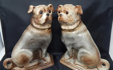 Pair of Large C19th Ceramic Models of Pug Dogs with Glass Ey...