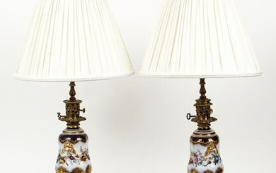 Pair of Old Paris decorated porcelain vases converted