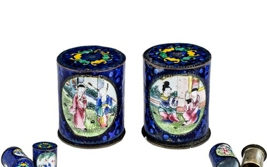 Rare Chinese Pair of Antique Cantonese Enamel Cylindrical Li...