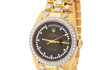 """Rolex. Highly Exclusive and Very Attractive """"Octopus"""" Day-date Automatic Wristwatch in Yellow Gold, Reference 18 048, With Brown Degrade Diamond-set Dial and Bezel, Sticker, Original Paper and Additional Dial."""