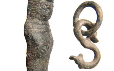 Roman bronze latch, zoomorphic hook and Medieval ring
