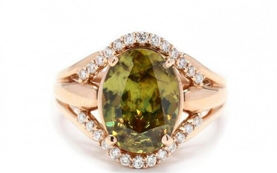 Rose Gold, Green Stone, and Diamond Ring