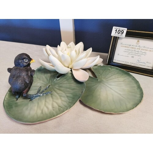 Royal Worcester 1964 Moorhen Chick & Water Lily Figure by Do...